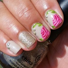 floral nails with glitter and studs
