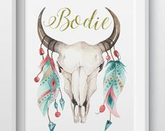 Hand-made, personalised prints, gifts, and homewares by LittleBilliBoho Personalised Prints, Beaded Skull, Feathers, Moose Art, Etsy Seller, Boho, Beads, Tattoos, Creative