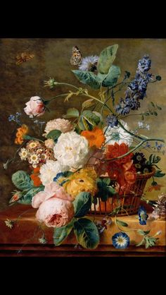 Basket of Flowers with Butterflies. By Jan Van Huysum