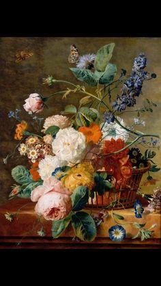 Basket of Flowers with Butterflies. By Jan Van Huysum