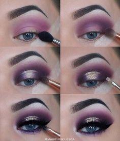 Eye Make-up - Purple Eyeshadow Tutorial Purple Eye Makeup, Glitter Eye Makeup, Makeup For Green Eyes, Natural Eye Makeup, Smokey Eye Makeup, Eyeshadow Makeup, Makeup Brushes, Purple Lips, Purple Smokey Eye