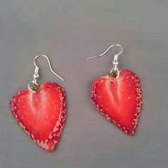 Real strawberry earrings by IGUECO on Etsy https://www.etsy.com/uk/listing/234947118/real-strawberry-earrings