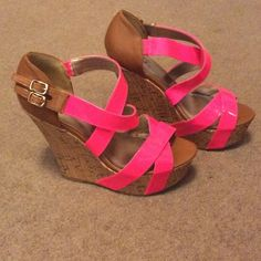 Hot pink wedge heels never worn Light brown and hot pink wedges never worn. Right foot has a smudge on the front of it shown in  3rd picture.bhard to see very minor Shoes Heels