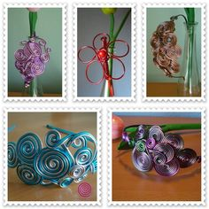 De Tacones y Bolsos: enespiral, artesanía con hilo de aluminio, piedras naturales, murano y cerámica.