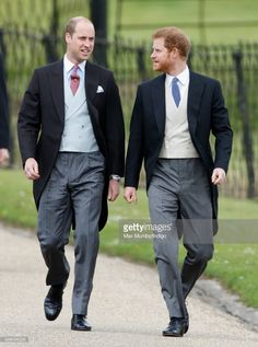 Prince William, Duke of Cambridge and Prince Harry attend the wedding of Pippa Middleton and James Matthews at St Mark's Church on May 20, 2017 in Englefield Green, England.