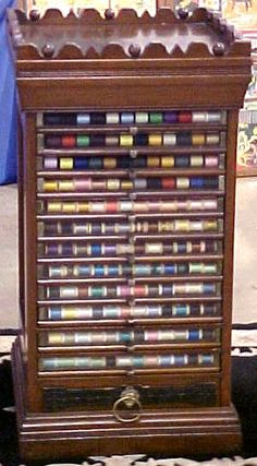 Victorian Walnut Spool Cabinet with 12 Glass Front Drawers, BRASS LANTERN ANTIQUES