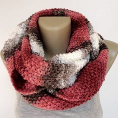 colorful knitted scarf ,infinity scarf ,eternity scarves ,circle tube scarf ,block ,pink brown beige white EXTRA SOFT scarf