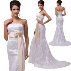 MERMAID Bridesmaid Evening Long Lace Prom Party Dress Bride Wedding Gown Dresses