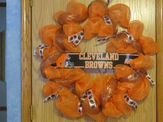 Large Cleveland Browns NFL Mesh Wreath by MomsDownTime on Etsy, $40.00