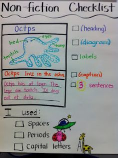 Non-fiction writing checklist.this would help Prep, Grade One students to write a non-fiction paper that includes text features! Kindergarten Writing, Teaching Writing, Writing Activities, Writing Resources, Library Activities, Teaching Career, Educational Activities, Informational Writing, Expository Writing
