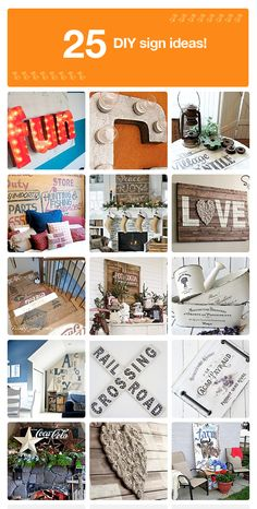 25 popular DIY signs and how to make them. Could make some of these with white washed wood and a printed font on paper with mod podge.scrapbook paper & my cricut! Crafty Craft, Diy Projects To Try, Diy Craft Projects, Fun Crafts, Diy And Crafts, Crafting, Diy Wall Art, Diy Art, Idee Diy