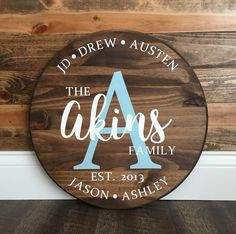Personalized Family Name Round Wood Sign custom anniversary gift Diy Wood Signs, Rustic Signs, Rustic Wood, Rustic Decor, Monogram Signs, Wood Monogram, Do It Yourself Wedding, Wood Circles, Wooden Door Hangers