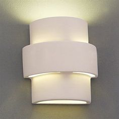 This ceramic wall light compliments your contemporary style.   Complete, ready to install fixture.  This fixture will never rust or deteriorate in wet or salt air environments.  Customize to your taste with any type of paint (latex, oil, acrylic, spray, etc.).  Dimmable.