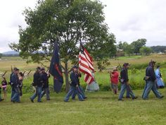 Union troops marching to the Copse