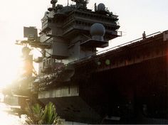 USS Kittyhawk in the setting sun - Guam