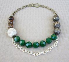 Statement Necklace - Emerald Green, White Crochet, Anthropologie Style, via Etsy.