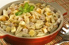 Salada ao Molho de Mostarda com Peito de Peru e Pêssego