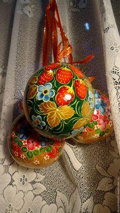 Купить шар деревянный расписной , открывающийся . хохлома . - комбинированный, хохломская роспись, хохлома