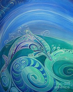 Dolphin Painting - Dolphin Aroha by Reina Cottier Dolphin Painting, Hydro Painting, Polynesian Art, New Zealand Art, Nz Art, Maori Art, Art Journal Inspiration, Painting Inspiration, Ocean Art