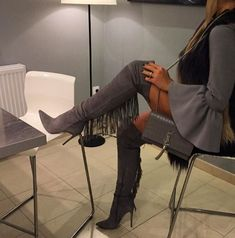 """Must have open toe black leather thigh high boots. Made of cowhide leather. Heel height, 4.7"""" inches. Size guide below: Note: These boots are custom made please allow up to 7-10 extra days to arrive."""
