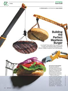 Conceptual images for Details to go with a story about companies working to build a better tasting fake meat burger Food Graphic Design, Food Poster Design, Web Design, Graphic Design Branding, Food Design, Burger Packaging, Meatless Burgers, Ads Creative, Food Displays