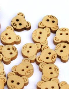 Teddy Bear Wooden Buttons  Scrapbooking cards by ToppyToppyKnits, $3.00