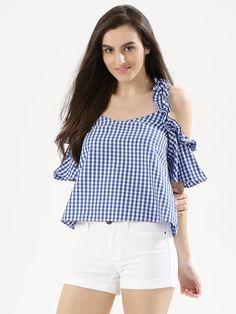 0b0ec5bf173 Buy Gingham Cold Shoulder Top For Women - Women s Blue Blouses Online in  India Blue Gingham