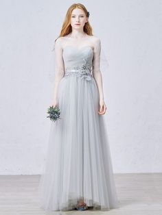 Beautiful A-line Sweetheart Tulle Floor-length Sashes / Ribbons Prom Dresses #UKM020102455