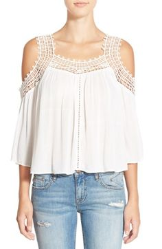 Free shipping and returns on Rip Curl 'True Romance' Lace Trim Cold Shoulder Top at Nordstrom.com. Crocheted lace and open-stitched accents add romantic touches to a flowy cold-shoulder top.