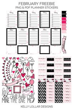 Free February Print & Cut Planner Stickers with a pink polka dot and Valentine's theme - 1 Weekly page, 1 Tracker page & 2 Doodle pages - Free for Personal Use #plannerstickers #planneraddict #februaryplanner #valentinesday