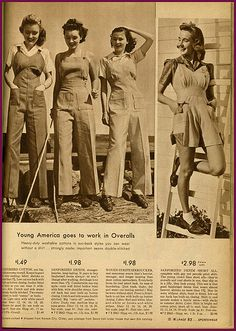 ..1940's catalog...sportswear page... Young America goes to work in Overalls vintage fashion style photo print ad models magazine catalogue 40s war era pant trouser top shirt shoes shorts