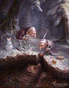 Mischievous elves gift a mole... sharing the spirit of Christmas