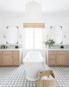 Coastal Inspired, Modern Farmhouse Interior by Studio McGee, beautiful renovation project featured on More Shiplap Please. Beautiful Bathrooms, Modern Bathroom, Master Bathroom, White Bathroom, Silver Bathroom, Garage Bathroom, Cozy Bathroom, Bathroom Marble, Bathroom Laundry