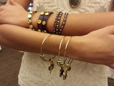 Bangles, leather wraps, and trinity bracelets! South Hill Designs, Bangles, Bracelets, New Product, Jewelry Design, Gold, Leather, Lockets, Work Wear