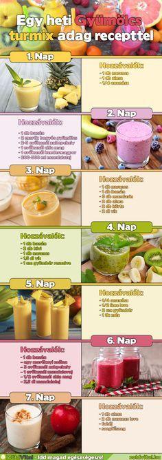 Gyümölcs turmix receptek! Egy heti gyümölcs turmix adag recepttel! Fogyassz te is egészséges turmixokat, smoothiekat. Íme néhány recept az elkészítéshez.