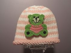Knitted Baby Hat Striped Teddy Bear Knit Baby Hat by UpNorthKnits.