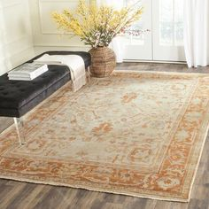 Bloomsbury Market Sanon Hand Knotted Wool Ivory/Rust Area Rug Rug Size: Rectangle 6' x 9''