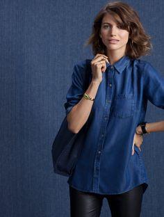 Cute <3 #BaukjenNewSeason Chambray Coco Shirt in Blue   BAUKJEN http://www.baukjen.com/uk/shop/baukjen/tops/chambray-coco-shirt-chambray.htm