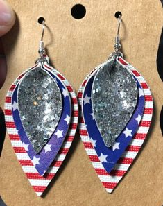 Excited to share this item from my shop: Red, White, Blue & Silver Glitter Faux Leather Earrings Tiny Stud Earrings, Gold Hoop Earrings, Diy Earrings, Crystal Earrings, Crystal Jewelry, Blue Earrings, Teardrop Earrings, Wedding Earrings Drop, Diamond Drop Earrings