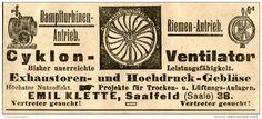 Original-Werbung/ Anzeige 1905 - CYKLON VENTILATOR / EMIL KLETTE SAALFELD -  ca. 100 x 40 mm