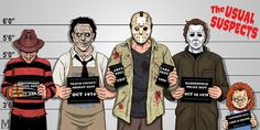 Usual Suspects Slasher Edition by ~b-maze on deviantART (Freddy Krueger, Leatherface, Jason Vorhees, Michael Myers, Chucky)