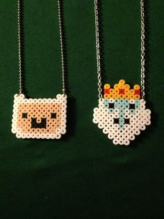 Adventure Time Finn Perler Necklace by SillyRabbitCrafts on Etsy