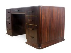 Art Deco French Solid Mahogany Desk with Macassar Ebony Veneer 1930s