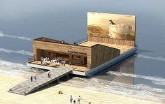Floating Cinema, cinéma temporaire à Dakar par l'architecte Minwook Choi de la Corée du Sud,