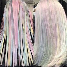 Holographic hair color is the new trend for those who love unicorn locks, pastel hues, and vibrant highlights. Get inspired by these painterly hair colors and paint your tresses in precious pastel metals. Ombre Hair Color, Cool Hair Color, Pastel Hair Colors, Colorful Hair, Pastel Colored Hair, Pastel Ombre Hair, Pastel Hair Highlights, Unicorn Hair Color, Vivid Hair Color