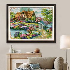 DIY Needlework Countryside Flower Cross Stitch Kits Embroidery Print
