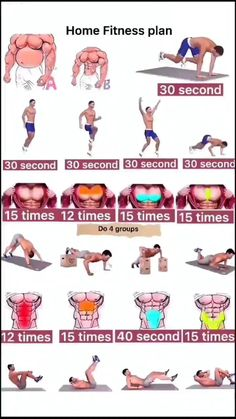 Push Up Workout, Full Body Hiit Workout, Gym Workout Videos, Abs Workout Routines, Gym Workout For Beginners, Gym Workouts For Men, Fit Board Workouts, At Home Workouts, Home Exercise Program