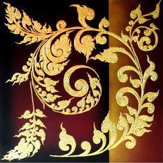Bild Struktur Gemälde Thai Motiv schwarz gold 100x100cm