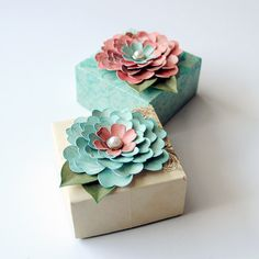 2 ORIGAMI Gift BOXES Decorated with Handcrafted by photomamaregina