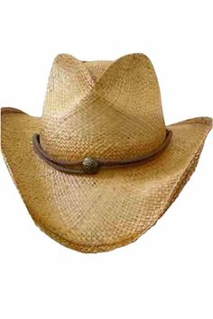 b5539ec6541 Distressed Classic Straw Cowboy Hat With Chin Cord